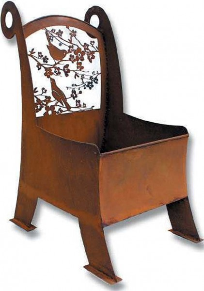 Edelrost Stuhl zum bepflanzen