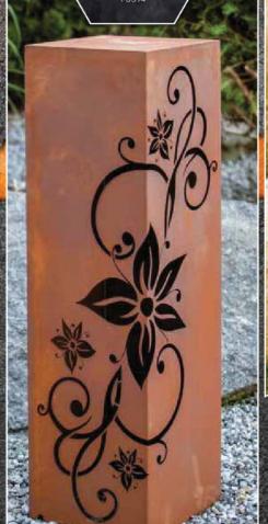 Edelrost Säule eckig mit Blumenmuster