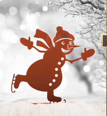 Edelrost schlittschuhlaufender Schneemann
