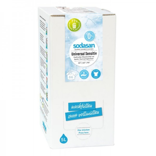 Sodasan Universalflüssigwaschmittel Sensitive 5 l Bagin Box