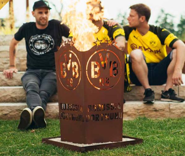 Edelrost Fan Feuerkorb BVB Dortmund