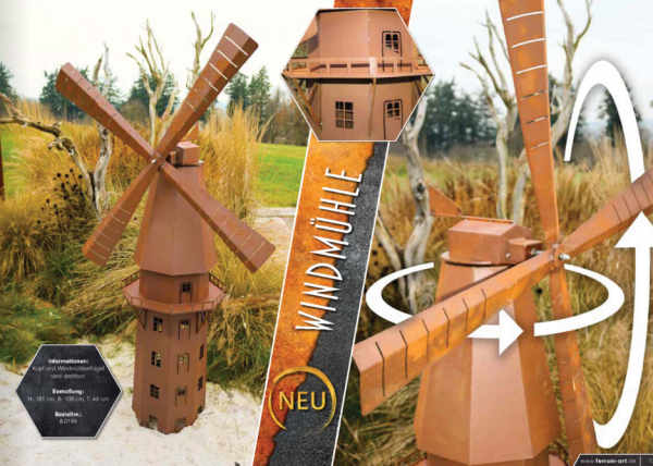 Edelrost Windmühle NEU
