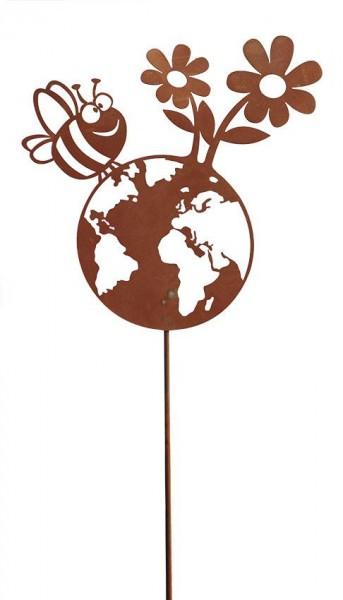 Edelrost Gartenstecker Happy Planet