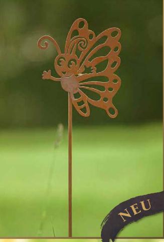Edelrost Gartenstab Schmetterling