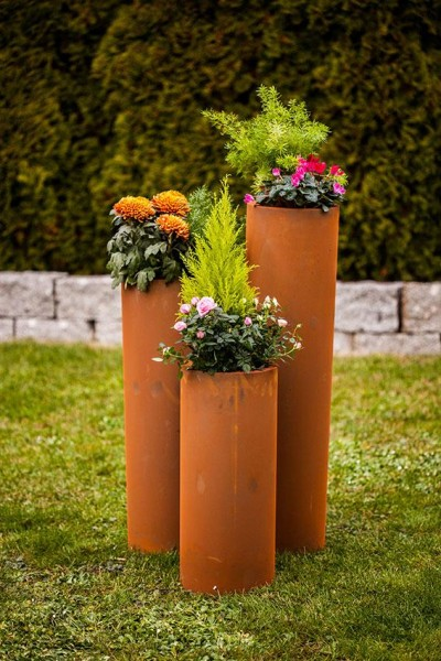 Edelrost Zylinder zum bepflanzen klein