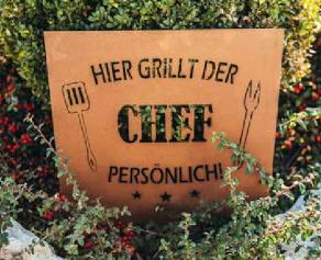 Edelrost Schild für den Griller