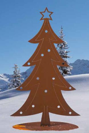 Edelrost Weihnachtsbaum auf Platte