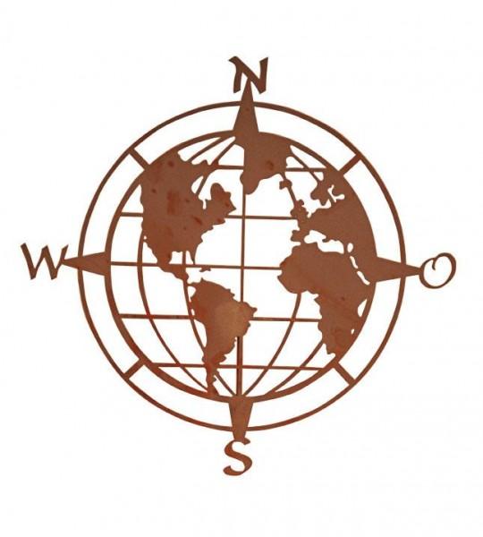 Wandbild Weltkugel aus Edelrost
