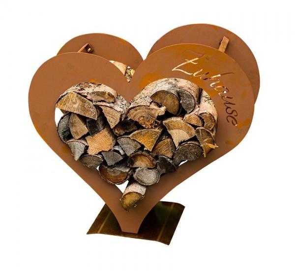 Edelrost Holzlege Herz-zuHause