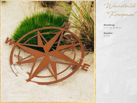 rostiges Wandbild Kompass